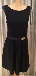 JENNIFER LOPEZ BLACK CLASSY COCKTAIL CASUAL DRESS WITH FAUX LEATHER TRIM COMFOR $43.50
