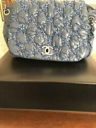 CHANEL CHAIN SHOULDER BAG Blue color Quilted Nylon Coco Mark Flap very light