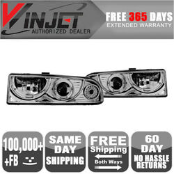 Fits 98-04 Chevrolet S10 Blazer Halo Projector Headlights Chrome Clear Lamps