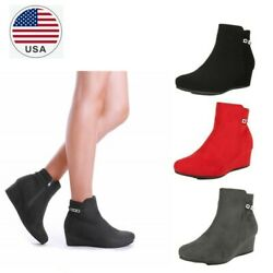 Womens Suede Booties Faux Fur Low Wedge Heel Zipper Ankle Boots Shoes Size