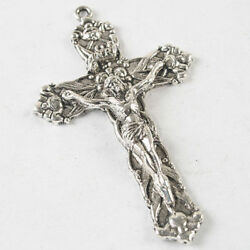LARGE CROSS CRUCIFIX JESUS pendant 925 STERLING SILVER 24quot; FIGARO 2MM chain men $23.97