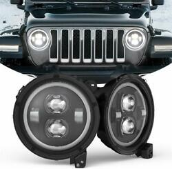 Pair 9 Inch Round LED Headlights Halo Projector DRL for 2018-19 Jeep Wrangler JL $228.89