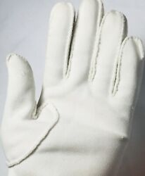 Vintage Womens Double Cotton White Gloves Hand Sewn Embroidered Cutouts Sz ML