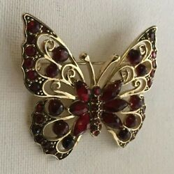Vintage Maroon and Gold Tone Butterfly Pin Brooch