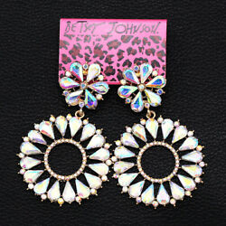 Colorful AB Crystal Big Round Flower Dangle Earbob Betsey Johnson Earrings Gift