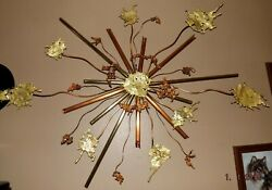 Large Vintage Brass amp; Copper Abstract Wall Art Metal Sculpture $450.00