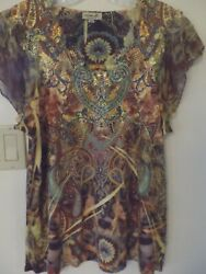ONE WORLD Short Sleeve Embellished Exotic Gold Paisley Pullover Top Large
