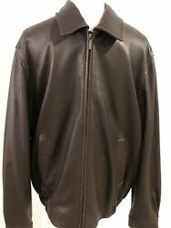 Excellent- Brooks Brothers Mens Large Leather Jacket Coat Classic Style - Soft