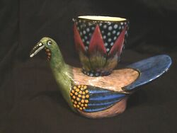 Rare ARDMORE South Africa Colorful Ceramic Painted Bird wCup 5