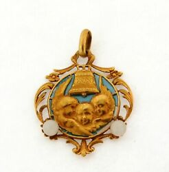 Antique Art Nouveau Plique A Jour French Cherub Angel 18k Yellow Gold Pendant