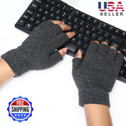 Man Knitted Wool Fingerless Half Finger Mittens Riding Warm Gloves Out Indoor $10.55