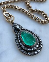 19th C Columbian Emerald and Rose Cut Diamond Pendant
