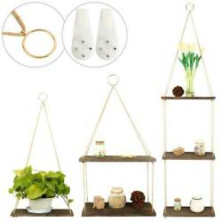 Wooden Hanging Shelf Swing Floating Shelves Rope Wall Display Rack Home Decor
