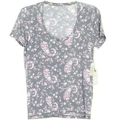 NEW $40 Lucky Brand Womens Gray Pink Floral Top T-shirt Tee Blouse Small S Scoop