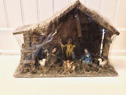 Vintage Christmas Nativity Wooden Manger Stable NEW OLD STOCK - Made in Italy