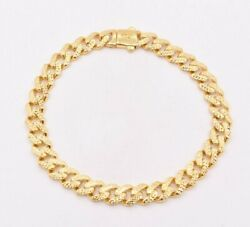 7.5mm Miami Cuban Diamond Cut Royal Box Clasp Bracelet Real 10K Yellow Gold $415.99