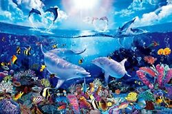 Glowing Jigsaw Puzzle Super Lassen Day of the Dolphins very small piece $125.38