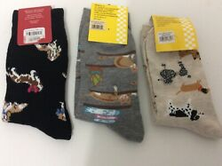 3 PAIRS WOMENS NOVELTY CAT amp; CREW SOCKS * BLACK GREY TAN * NWL * CUTE $14.99
