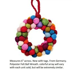 Butler's Hang On Small Felt Ball Wreath from Germany Europe Christmas ornament