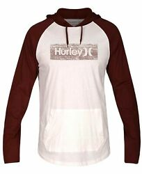 $151 Hurley Men's White Long-Sleeve Pullover Sweater Hooded Sweatshirt Size 2XL