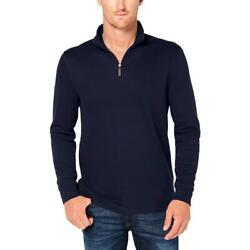 Club Room Mens Ribbed Trim 14 Zip Mock Neck Pullover Sweater Top BHFO 3207