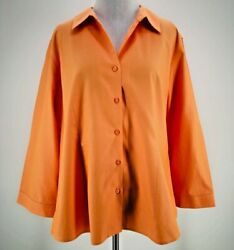 Orvis Women's Orange 100% Cotton Long Sleeve Button-Down Shirt Size 16