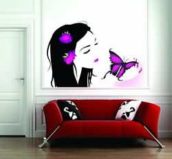 Wall Girl With Butterfly Sticker Wall Poster PVC Vinyl 31 X 20 Inch Decal $18.99