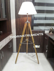 Designer Nautical wooden Tripod Decorative Floor shade lamp with stand $80.00