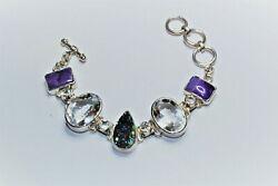 Sterling STARBORN Bracelet with Druzy Crystal White Topaz and Charoite