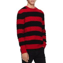 Calvin Klein Mens Red Wool Blend Striped Pullover Sweater Top L BHFO 7152