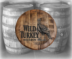 Rustic Home Bar Decor Wild Turkey Bourbon Barrel Lid wood wall art Kentucky $89.90