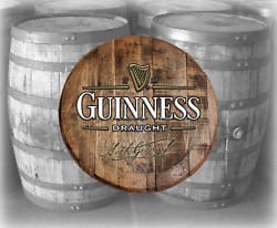 Rustic Home Bar Decor Guiness Draught Beer Barrel Lid wood Wall Art Accessories $89.90