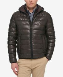 $500 Tommy Hilfiger Mens Brown Layered Packable Hooded Puffer Jacket Coat Size M