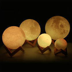 3D Printing Moon Lamp Moonlight USB LED Night Lunar Light Touch 16Color + Remote