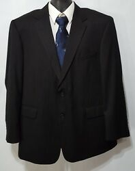 STAFFORD Signature (46R) Men's Charcoal Gray Pinstripe WOOL 2 Btn Blazer Jacket