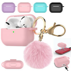 AirPods Pro Silicone Charging Case Cute Cover with Keychain Fur Ball For Apple $5.98