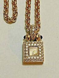 AUTHENTIC CHOPARD 18K YELLOW GOLD HAPPY DIAMOND PENDANT NECKLACE 26.2gr