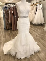 Mikaells Wedding Dress #2111 NaturalPearl Size 14 Ruched Tulle Ruffle Hem