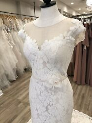 Mikaella Wedding Dress #2185 NaturalLatte Size 12 Lace Illusion Neckline