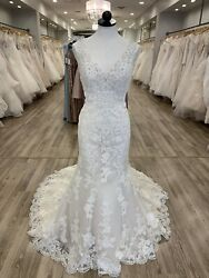 MoriLee Wedding Dress Meya IvoryLight Gold Size 12 Lace V-neck Keyhole Back