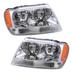 New Pair Set Headlight Headlamp Housing Assembly for 99-04 Jeep Grand Cherokee $99.48