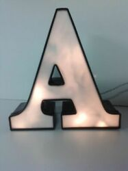 Letter quot;Aquot; Commercial Sign Lighted Aluminum Body Plastic Face Used N1