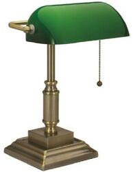 13W Bankers Style Desk Lamp with Green Glass Shade Antique Home Office Decor