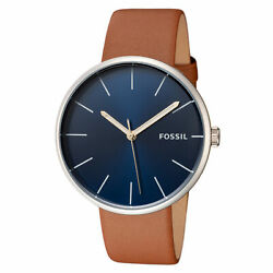 Fossil Men's Hutton BQ2438 42mm Blue Dial Leather Watch