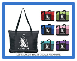 BEAGLE PUPPY DOG PERSONALIZED NAME TOTE PURSE SPORTS GYM TRAVEL DIAPER BAG ZIPS $19.98