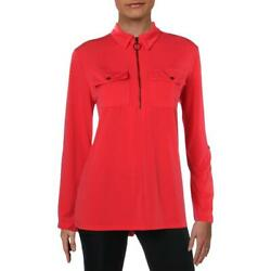 Kenneth Cole New York Womens 14 Zip Office Collared Blouse Top BHFO 0702 $6.23