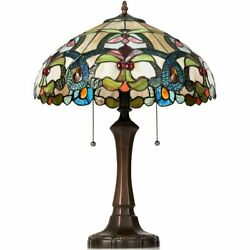 Tiffany Style Victorian 2 Light Table Lamp with 16quot; Stained Shade $144.24