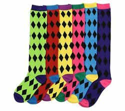 Diamond Pattern Women#x27;s Colorful amp; Fun Novelty Knee High Socks 6 Pack $13.99