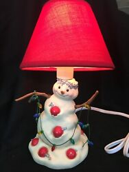 "J C Snowman Lamp With Christmas Lights JC Figurine Lamp Small Table Lamp 9"" $21.11"