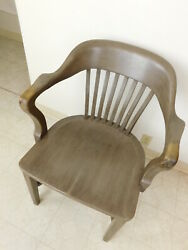 Antique 1940s Bankers Jury Walnut Desk Arm Chair Johnson Chicago  Gunlocke Co.